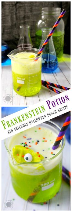 Frankenstein Punch, Kid Friendly Halloween Punch Recipe that doubles as Polyjuice Punch for Harry Potter themed parties spooky halloween recipes Halloween Cocktails, Halloween Snacks, Halloween Punch For Kids, Creepy Halloween Food, Halloween Birthday, Halloween Activities, Halloween Halloween, Halloween Decorations, Polyjuice Potion Recipe
