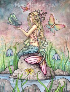 Mermaid Art Fantasy Print by Molly Harrison 12 x 16 'Creekside Magic' via Etsy