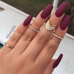 20 Matte Nails - Matte burgundy with some bling looks gorgeous.