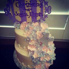 Flower themed Baptism Cake