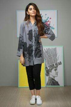Buy Alkaram Studio Pret Collection Printed Linen MAK Kurti Grey from LawnCollection.pk & Get your outfit at doorstep anywhere in Pakistan. Pakistani Fashion Casual, Pakistani Dresses Casual, Nice Dresses, Casual Dresses, Indian Wedding Gowns, Stylish Summer Outfits, Latest Outfits, Latest Fashion, Kurti Collection