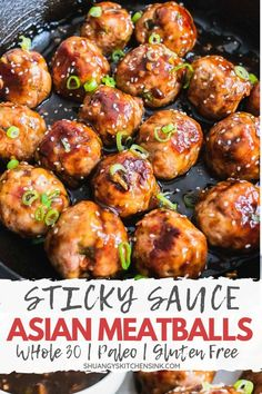 These delicious Sticky Asian Meatballs are not your average Chinese takeout food. It is paleo, gluten free, dairy free and easy to make. Dairy Free Recipes, Paleo Recipes, Asian Recipes, Whole Food Recipes, Cooking Recipes, Easy Whole 30 Recipes, While 30 Recipes, Indonesian Recipes, Paleo Food