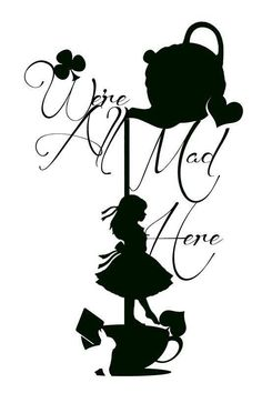 disney alice in wonderland silhouette Papercut Art, Machine Silhouette Portrait, Silhouette Drawings, Images Disney, Were All Mad Here, Mad Hatter Tea, Silhouette Cameo Projects, Wonderland Party, Silhouettes