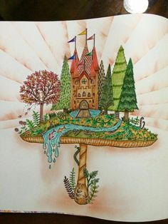 Johanna Basford coloring castle mushroom Enchanted Forest