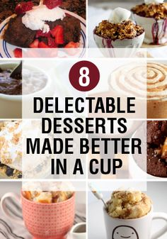 Who knew desserts could be made better in a cup? I sure didn't! But these options are awesome! Single Serve Desserts, Just Desserts, Delicious Desserts, Dessert Recipes, Yummy Food, Dessert In A Mug, Dessert Cups, Mug Recipes, Cooking Recipes