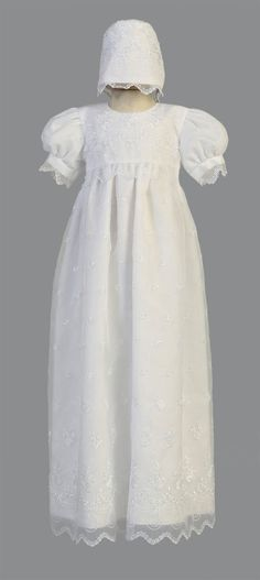 Girls Baptism-Christening Gown Style 2562 - WHITE Embroidered Organza Gown  Stunning embroidered organza gown with short sleeves. The great part about this ensemble is that you can always wear the dress without the bonnet as this would make a gorgeous gown for a young child in a wedding also. Outfit comes with everything that is pictured.  http://www.flowergirldressforless.com/mm5/merchant.mvc?Screen=PROD&Product_Code=L_2562&Store_Code=Flower-Girl&Category_Code=White