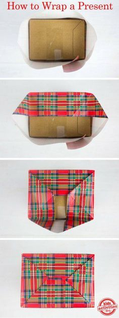 Here's a good visual to help wrap presents this season! All they are missing are some adorable name tags ; Christmas Present Wrap, Christmas Gift Wrapping, Christmas Holidays, Christmas Gifts, Present Wrapping, Creative Gift Wrapping, Gift Wrapping Paper, Wrapping Ideas, Diy Gifts