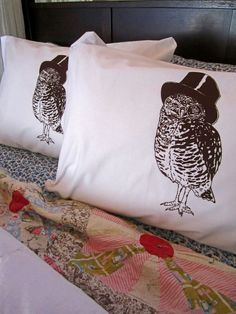 Screen Printed Pillowcases (set of 2 standard) - Pillow Covers - Eco Friendly Bedding - Woodland Owl - Natural Cotton Pillowcase - Handmade