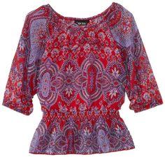 Amy Byer Girls 7-16 Print Chiffon Dolman Sleeve Peasant Top, Multi, Medium. From #Amy Byer. List Price: $36.00. Price: $25.20