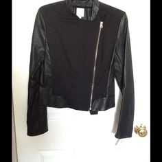 Halogen leather sleeve jacket Black fabric body, leather sleeve, side zip. Never worn. Was a gift... Halogen Jackets & Coats