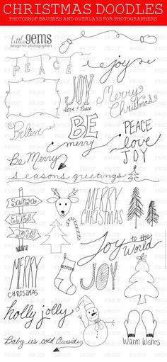 Items op Etsy die op Kerstmis Photoshop Brushes Doodles / Overlays voor fotografen / Word Art / illustraties / digitale stempels / digitale Scrapbooking / schoolbord lijken