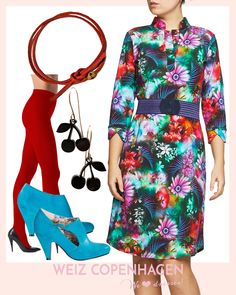 ef59cdca91c5 Friday favourite  41 Annabell dress flowery sea Red tights Oroblu Lola  shoes tropical Cherry earrings