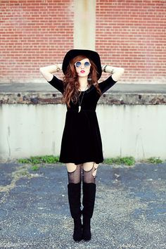 Velveteen Babydoll Dress, Hourglass Round Orange Sunglasses - Modern Day Gothic Fashion - More conservative, but beautiful none the less. Id wear this.