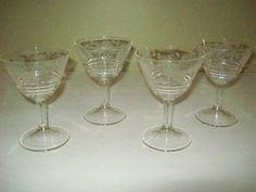antique etched crystal stemware | Vintage 60s etched stemware crystal wine glasses