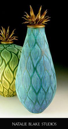 Garibaldi inspired sgraffito carved handmade vessel ~ by Natalie Blake Studios