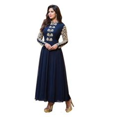 Conflate Navy Blue Georgette Semi Stitch Anarkali Dress with Matching Color Santoon Bottom, Matching Color Nazneen Dupatta and Santoon Inner. It Contained the work of Embroidery with Lace Border.This Salwar Suit can be customized up to bust size 44