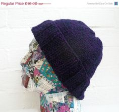 JANUARY SALE Men's Hand Knitted Beanie Hat by Clickclackknits