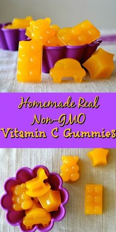 Homemade Real Non-GMO Vitamin C Gummies Vitamin C is necessary to support a strong immune system and maintain good cardiovascular health. It promotes eye health and helps prevent colds. Vitamin C is also a great flu-fighter. These Ho… Fruit Snacks, Healthy Snacks, Diy Snacks, Toddler Meals, Kids Meals, Home Remedies, Natural Remedies, Vitamin C Gummies, Homemade Gummies