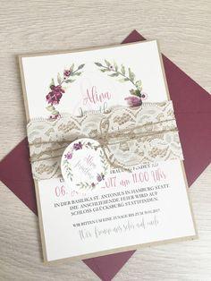 Hochzeitskarten - Einladung Vintage/Blumen I - ein Designerstück von printsonalities bei DaWanda