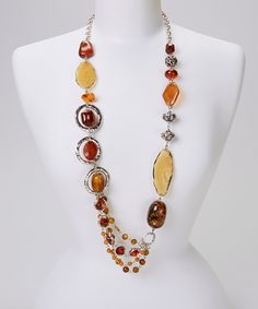 Amber Long Beaded Necklace