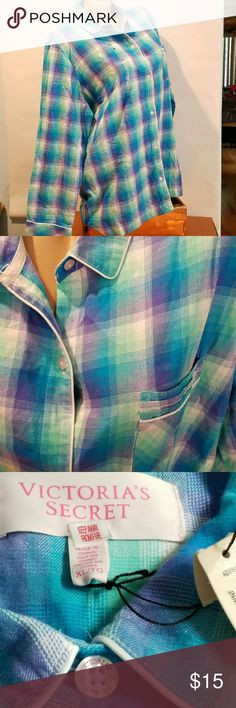 """XL VS Button Down Sleep Shirt Long Sleeve NWT Victoria's Secret button-down sleep shirt in extra large. Soft Madras plaid with silver foil threading throughout. Long sleeves no button cuff comma straight hem. Front placket pocket. Chest measures 23 inches under arm. Length is 28.5"""" from shoulder to hem. Sleeve measures 24""""  from top of shoulder sleeve to cuff Victoria's Secret Intimates & Sleepwear Pajamas"""