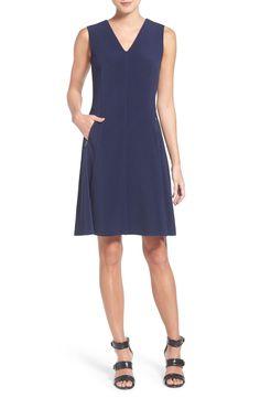 Halogen® Zip Pocket V-Neck A-Line Dress (Regular