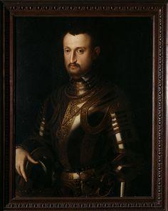 Alfonso II d'Este (1533-1597) Son of Ercole II d'Este and Renee of France. Husband to Lucrezia di Cosimo de' Medici, Barbara of Austria, and Margherita Gonzaga. Portrait by Alessandro Allori