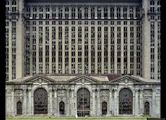 "It is just so sad the way that Detroit has went down.Michigan Central Station, from ""The ruins of Detroit"" by Yves Marchand & Romain Meffre (Steidl) Abandoned Buildings, Old Buildings, Abandoned Places, Abandoned Train, Abandoned Mansions, Detroit Ruins, Abandoned Detroit, Detroit Slums, Architecture"