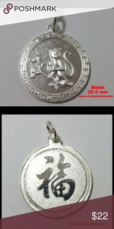 Chinese Zodiac Horoscope Silver Monkey Pendant Metal :	.999 Fine Silver  Pendant Type :	Chinese Zodiac - Monkey Round Approximate Width : 20.5 mm Approximate Height : 23.7 mm  Approximate thickness : 1.6 mm Approximate Total Weight: 4 grams Finish : Polish / Matte Item # : S09041510 3 Royal Dazzy Jewelry