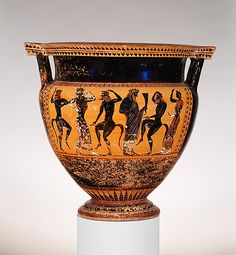 Terracotta column-krater (bowl for mixing wine and water)    Period:      Archaic  Date:      ca. 540 B.C.  Culture:      Greek, Attic  Medium:      Terracotta  Dimensions:      H. 19 7/8 in. (50.5 cm) diameter of mouth 18 3/4 in. (47.6 cm)  Classification:      Vases