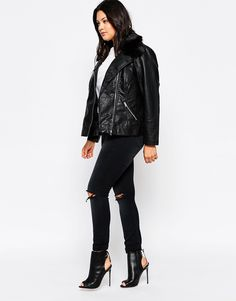 Image 4 of New Look Inspire Leather Look Biker Jacket With Fur Collar