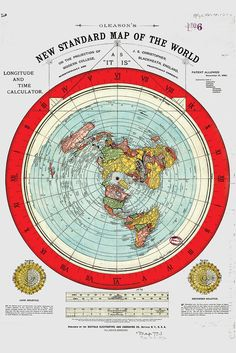 "Flat Earth Map - 3  Gleason's New Standard Maps Of The World - Large 24"" x 36"""