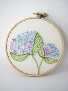 Embroidery Hoop Art - Hydrangea Blooms (by flamelilyphotos @Etsy)