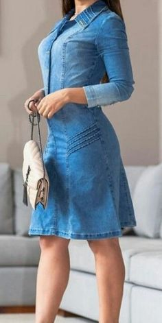 Denim Skirt Outfits, Denim Outfit, Jeans Dress, Love Jeans, Jeans Style, Stylish Dresses, Women's Fashion Dresses, Denim Fashion, Look Fashion