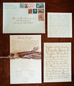 Letter-pressed stationary tied with pieces of silk   Photo by Jillian Mitchell