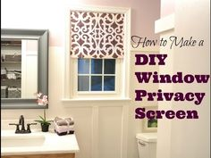Best tutorial on how to make your own pretty DIY privacy window screen for any size window in bathrooms and kitchens. Materials used: pine, thin fabric, miter box, spray adhesive, and nails! No power tools needed. Window treatment without hardware because this window screen fits snugly inside the frame of the window!