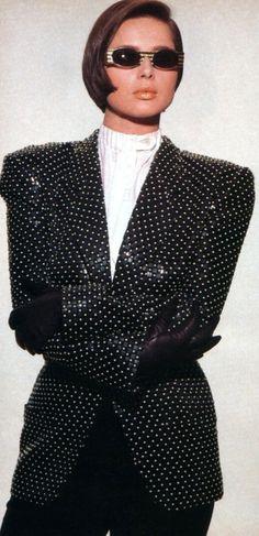 Isabella Rossellini, American Vogue, September 1985. Photograph by Eric Boman; fashion: Giorgio Armani.