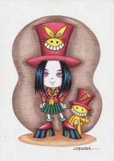 Character Design de Alice e seu coelhinho, técnica com lápis de cor aquarelável - ano de 2008 - Projeto Gráfico para livro.