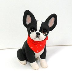 Boston Terrier with Bandana Sculpture Polymer Clay Mini by Raquel at theWRC clay DOG Collectible. This pup looks cute simply sitting with a bandana and a smile for someone special! Hand sculpted polymer clay dog. Made with love and care! Measures approx. 2.25 inches tall.