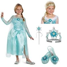 Get your entire magical Elsa outfit in one stop! Complete Classic Snow Queen Elsa Girls Gown #officialprincesscostumes