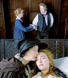 """austenchanted: """" Sense and Sensibility """" Colonel Brandon was now as happy as all those who best loved him believed he deserved to be; - in Marianne he was consoled for every past affliction; Charity Wakefield, Jane Austen Movies, English Love, Ang Lee, Emma Thompson, Interview, Beautiful Costumes, Kate Winslet, Historical Romance"""
