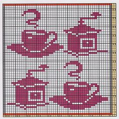 Here I offer only the chart pattern for a potholder. I am assuming that you are familiar with the double-faced knitting technique too. Filet Crochet Charts, Crochet Motifs, Knitting Charts, Knitting Patterns, Crochet Patterns, Cross Stitch Love, Cross Stitch Charts, Cross Stitch Embroidery, Cross Stitch Patterns