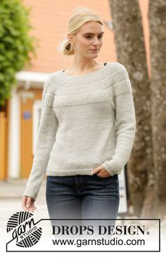 Winter Bride / DROPS - Free knitting patterns by DROPS Design Knitted pullover with round yoke in DROPS Flora. The piece is knitted from top to bottom with a full patent on the yoke.
