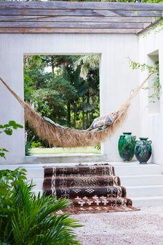 boho outdoor hammock nook