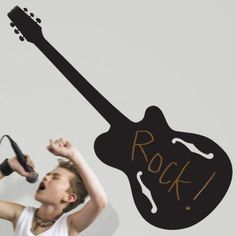 Love this guitar peel and stick chalkboard decal for decorating the  walls of a little Rockstar's bedroom!