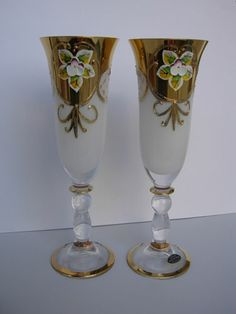 6 Unique Luxury Bohemian Czech Champagne Glases 24KT Gold | eBay Bohemia Glass, Glass Tea Cups, Czech Glass, Murano Glass, Champagne Flutes, Antique Glass, Glass Art, Luxury, Unique