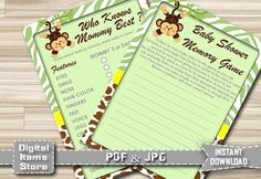 Printable Who Knows Mommy Best Monkey  Memory by DigitalitemsShop