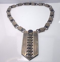William Spratling Taxco Mexico Sterling Silver Azurmalachite Necklace, c1950s #TaxcoWilliamSpratling