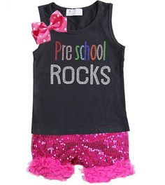 Preschool Rock Sequin ruffle Short Set -several colors to choose from