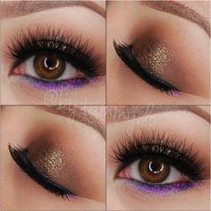 Brown neutral eye makeup with a bit of glitter on the center, purple glitter on lower lash line by Tammy Do | Bridal Hair & Makeup Artist | SF Bay Area | www.tammydo.com